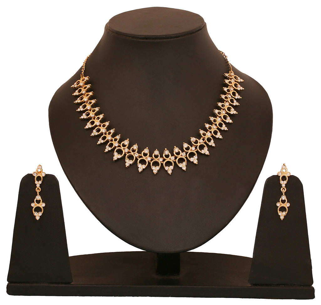 Touchstone Ad Golden Glamour Necklace Set- FGNSA037-01A--Y