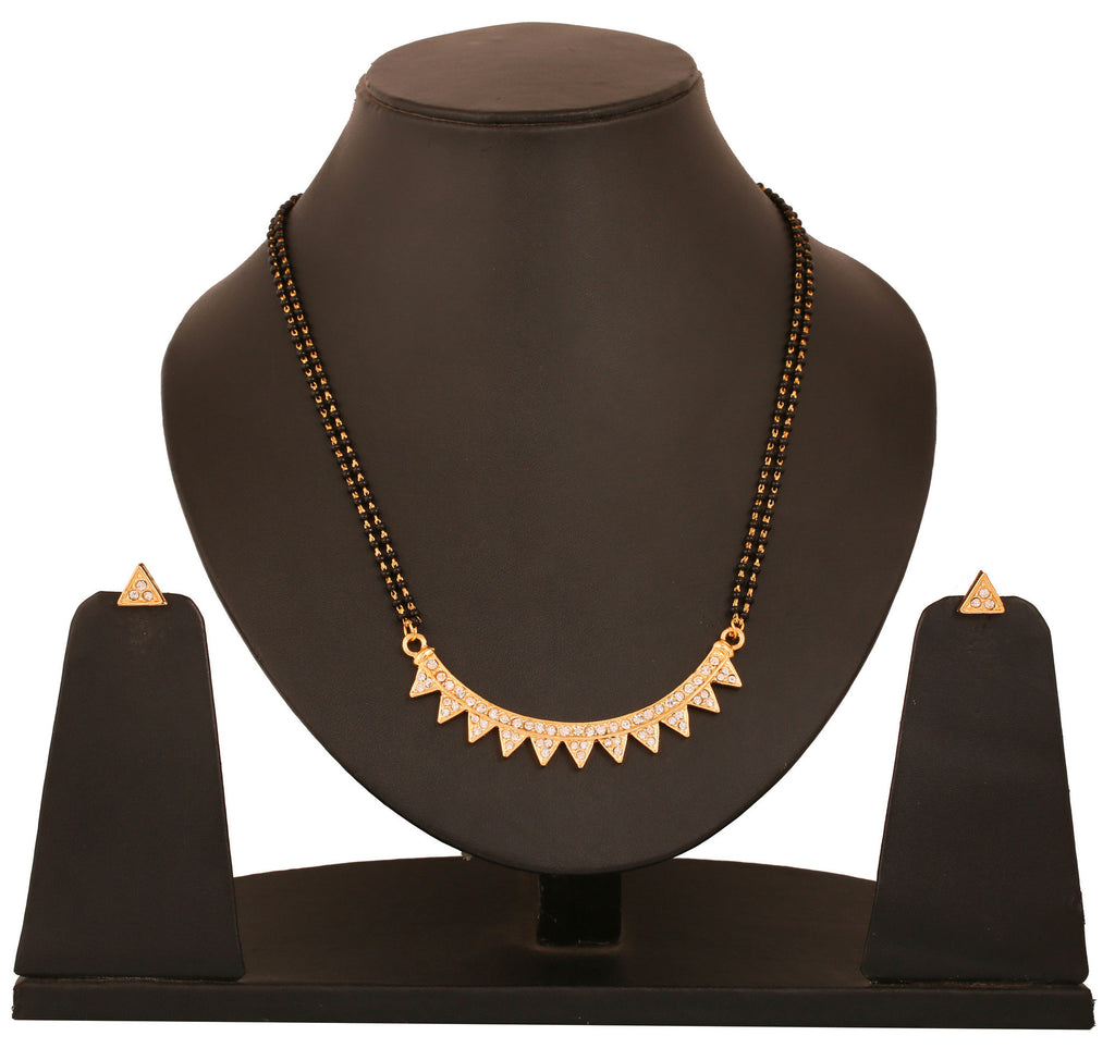 Touchstone Triangle Design Ad Studded Mangalsutra Set- FGNSA114-01A--Y