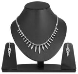 Touchstone Ad Silver Marquise Necklace Set- FGNSA123-02A--W