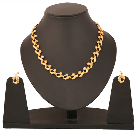 Touchstone Gold Plated Exclusive Indo-Western Necklace Set- FGNSA142-01A--Y