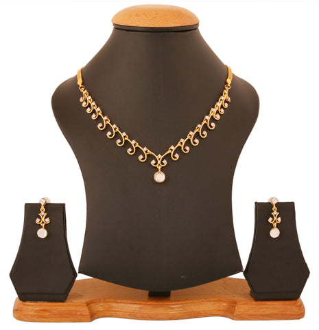 Touchstone Gold Plated Princess Necklace Set- FGNSA290-01A--Y