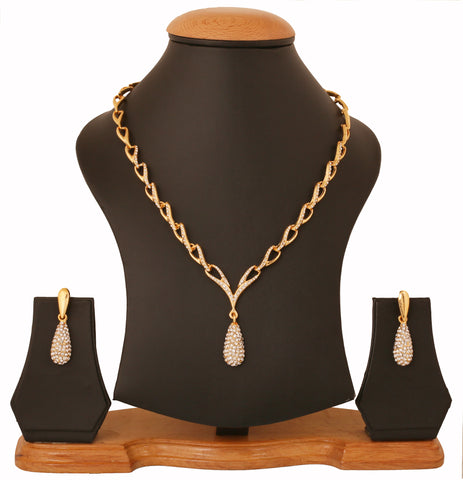 Touchstone Gold Plated Attractive Thin Necklace Set- FGNSL006-01A--Y