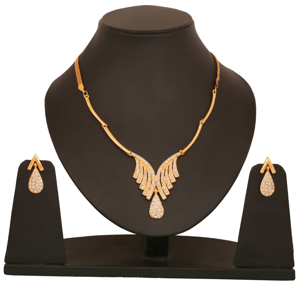 Touchstone Ad Golden Fashionable Necklace Set- FGNSL024-01A--Y