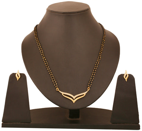 Touchstone Gold Plated Ad Studded Mangalsutra Set- FGNSL058-01A--Y