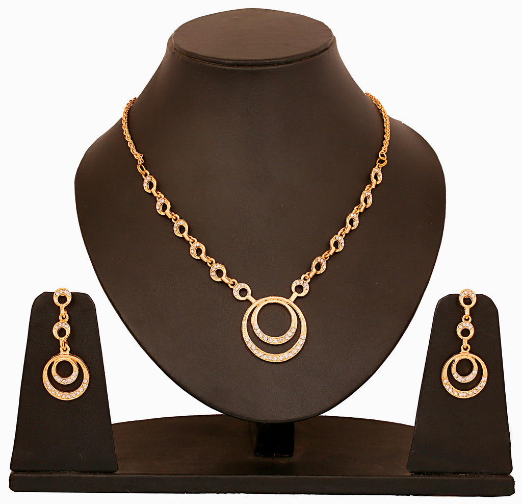 Touchstone Amazing Gold Plated Necklace Set- FGNSL105-01A--Y