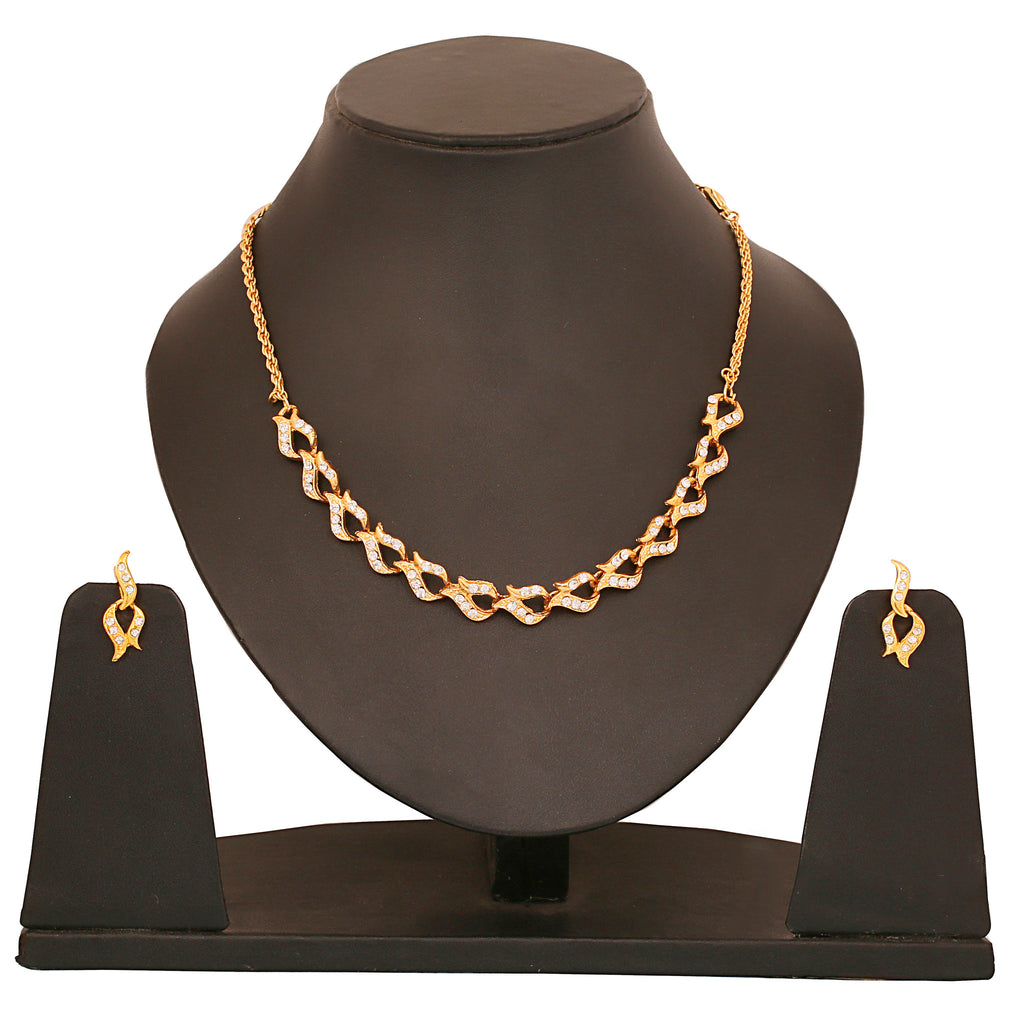 Touchstone Adorable Gold Plated Necklace Set- FGNSL113-01A--Y