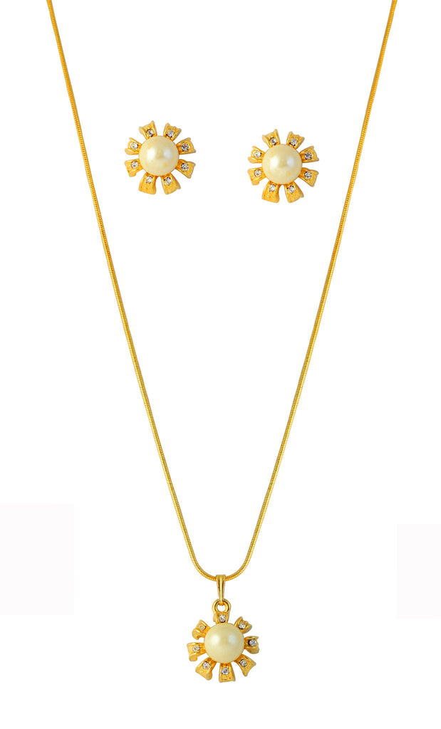 Touchstone Sophisticated Gold Plated Pendant Set- FGPS-038-01AP-Y