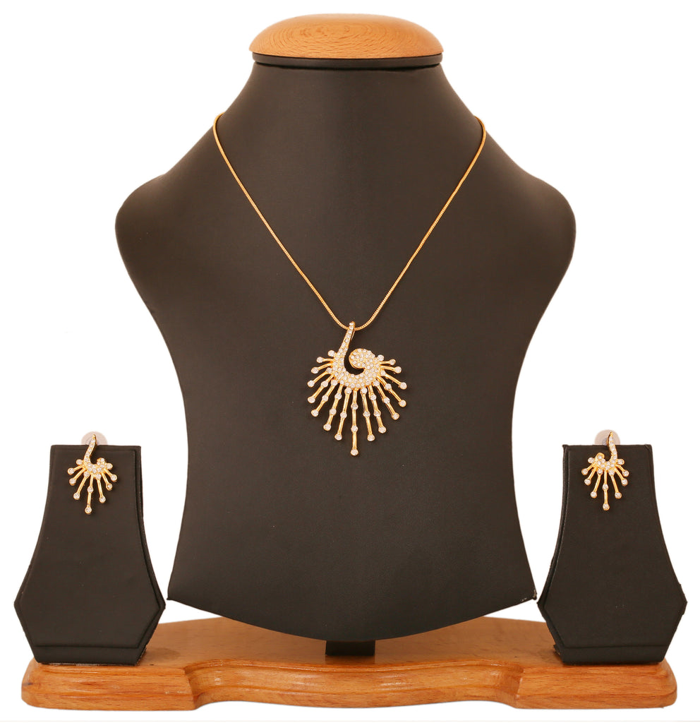 Touchstone Gold Plated Peacock Trendy Pendant Set- FGPSA015-02A--Y
