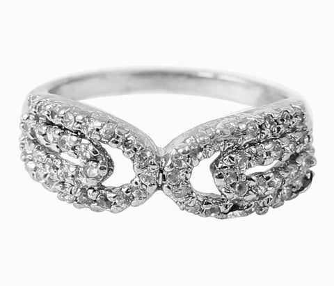 Touchstone Splendid Rhodium Plated Ring- FGR-T007-01A--W