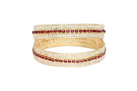 Touchstone Pair of Red Shimmer AD Bangles- FPB--951C01AR-Y