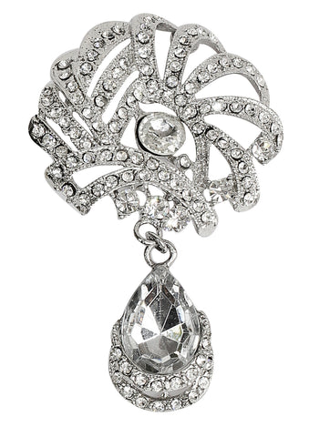 Touchstone Silver Sparkle Brooch- FPBC-174-01A--W