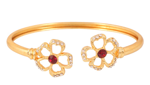 Touchstone Gold Plated Floral Bracelet- FPBR-B74-01AR-Y