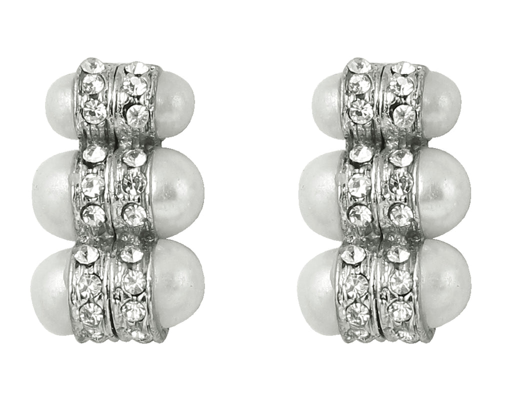 Touchstone Amazing Rhodium Plated Earrings- FPET-100-01AP-W