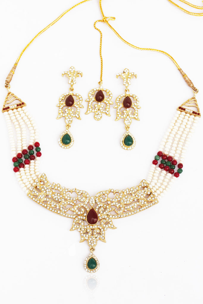 Touchstone Ad Studded Fine Festive Necklace Set With Maang Tika- FPNS-190-02AREY
