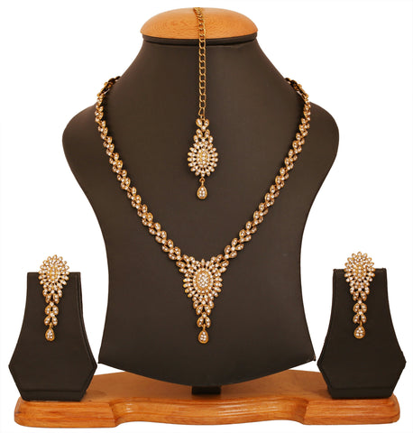 Touchstone golden plated old Indian bollywood white dimante light bridal jewelry necklace set for women