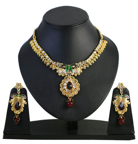 Touchstone Lovely Multicoloured Austrian Diamonds Necklace Set- FPNSE004-01AK-G