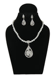 Touchstone Ad Silver Teardrop Pearl Necklace Set- FPPS-373-01A--W