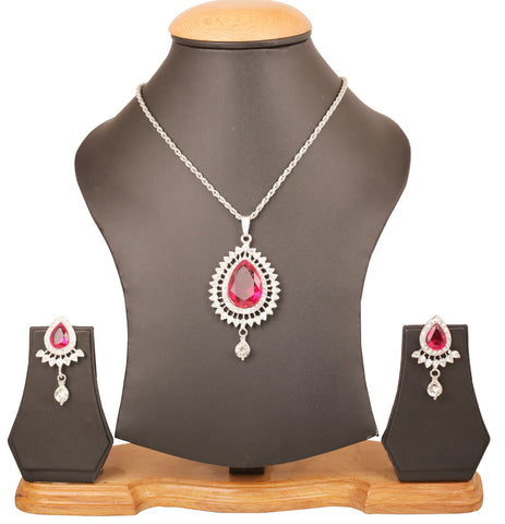 Touchstone Indian bollywood Victorian inspired white Austrian crystals and fuchsia color designer pendant set in silver tone for women FPPS-394-02AZ-W