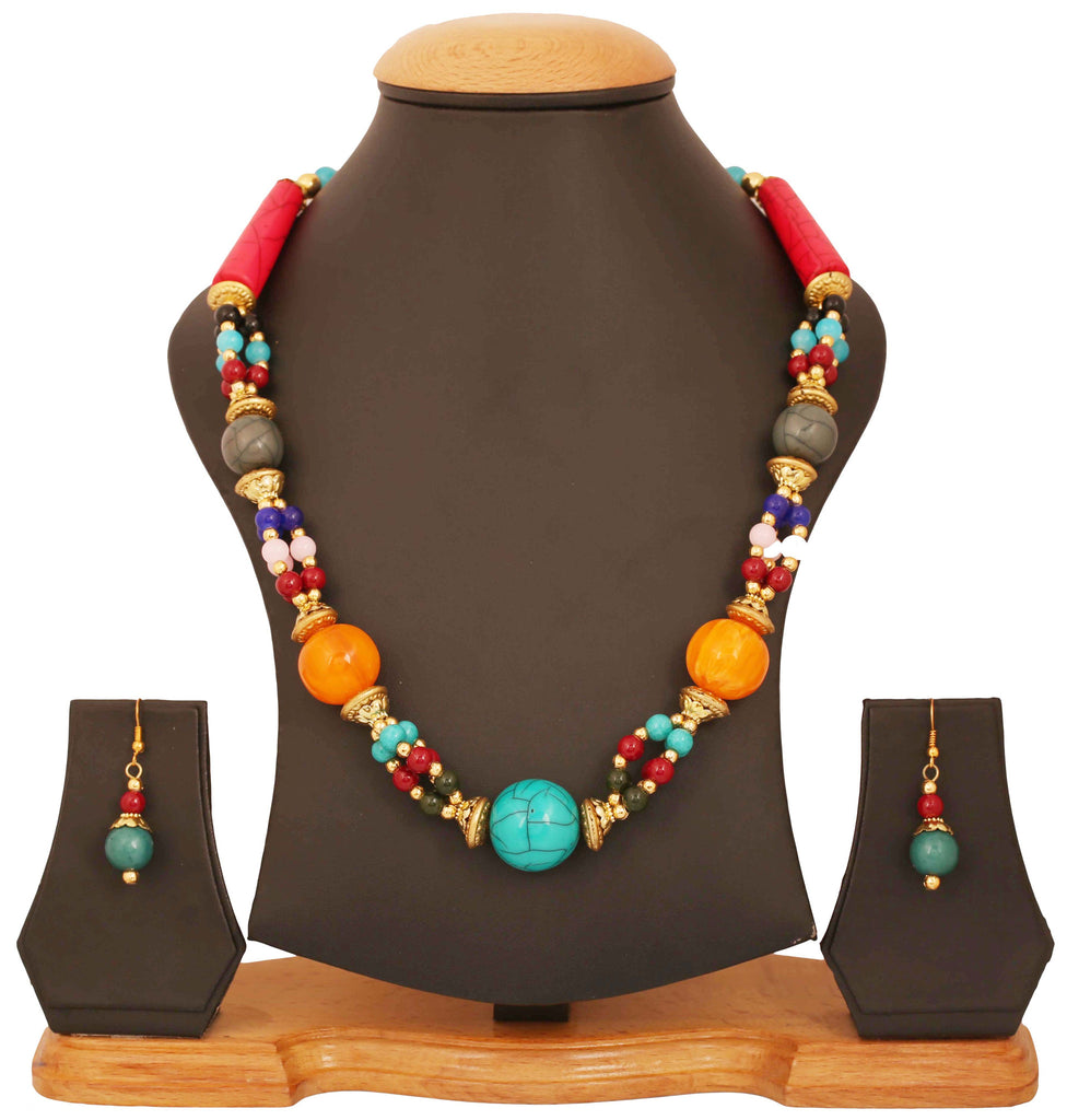 Artistically Designed, Rich & Colourful Bead Necklace Set by Touchstone- GMNS-110-06---Y