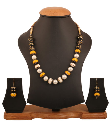 Touchstone Indian bollywood  artistic bead covering designer jewelry necklace set for women GMNS-321-01----