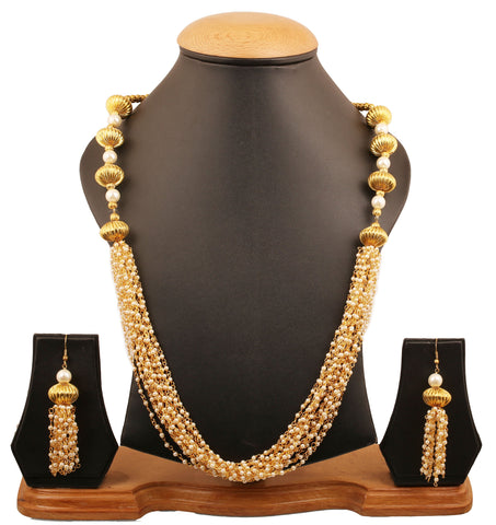 Touchstone Indian bollywood very artistically created designer jewelry necklace with faux pearls and beads in gold tone for women