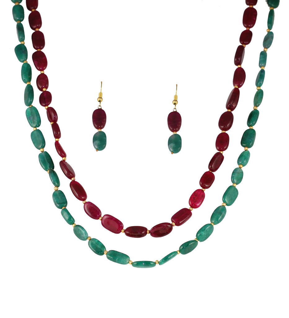 Touchstone Exotic and pretty natural red and sea green chips necklace set- GMST-264-01----