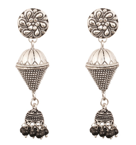 Touchstone Metrical Magic And Stylish Dangling Jhumki Earrings  In Oxidized Silver Tone For Women.