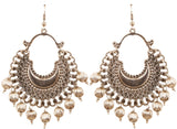 Sweety Tribal Boho Chic Chandbaali Earrings In Oxidized Silver Tone-GSETS150-02---R