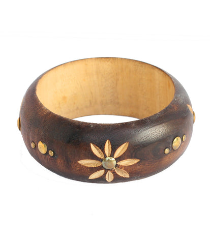 Touchstone Carved Natural Bangle- KRB--702-01----