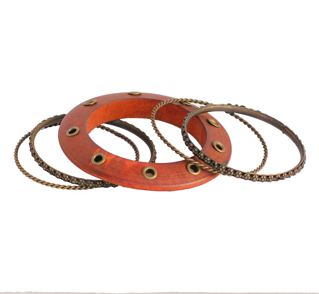 Touchstone Wood & Metal Bangle- KRB--A75-01----