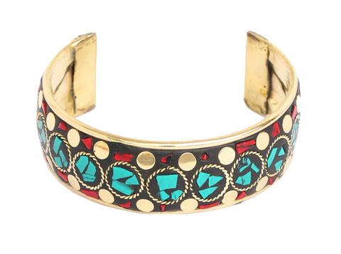 Touchstone Gold plated ravishing and cute bracelet, donewith turquoise stones decoration- KRBR-971-01---Z