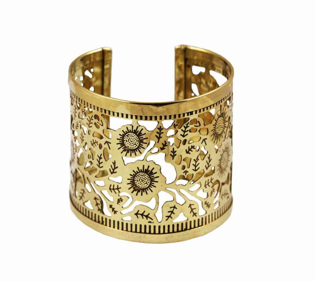 Touchstone Brass base, awesome and eye-catching very neatly handcrafted cuff bracelet- KRBR-973-01---Y