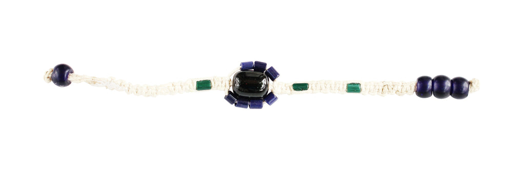 Touchstone Macrame jewellery black, blue,green & white wire bracelet which is beautiful design- KRBR-977-01----