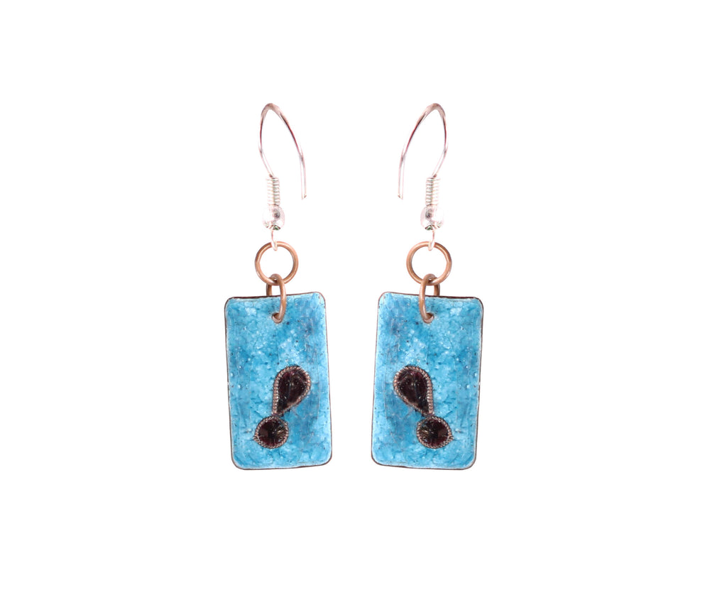 Touchstone Enamelled with blue coloured earrings which is square shape design- KRET-F70-01----