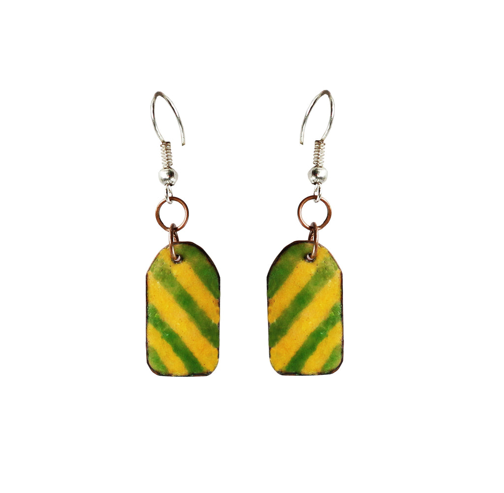 Touchstone Enamelled with green with yellow earrings which is unique shape design- KRET-F74-01----