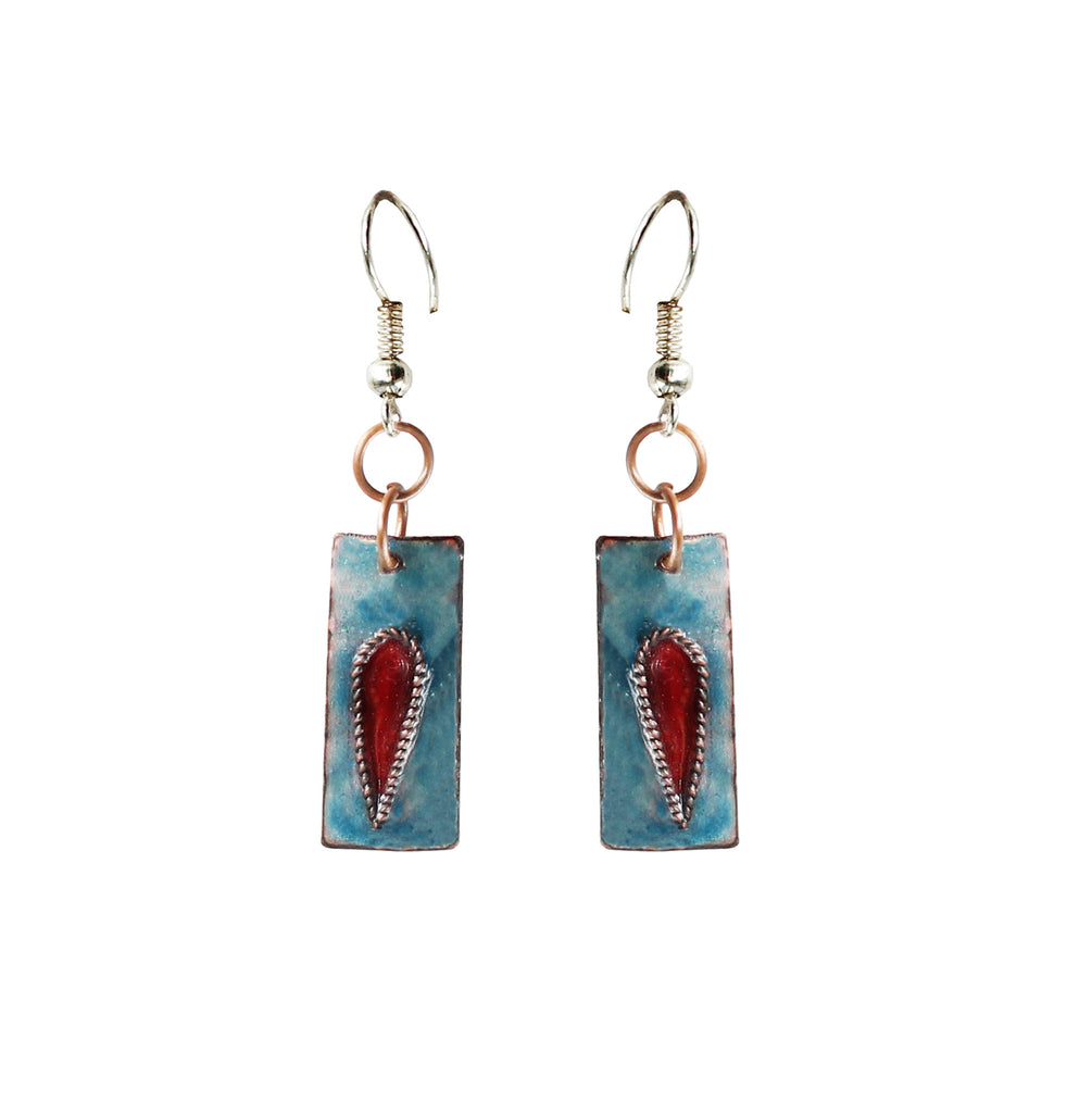 Touchstone Enamelled with grey and red combined earrings which is square shape design- KRET-F75-01----