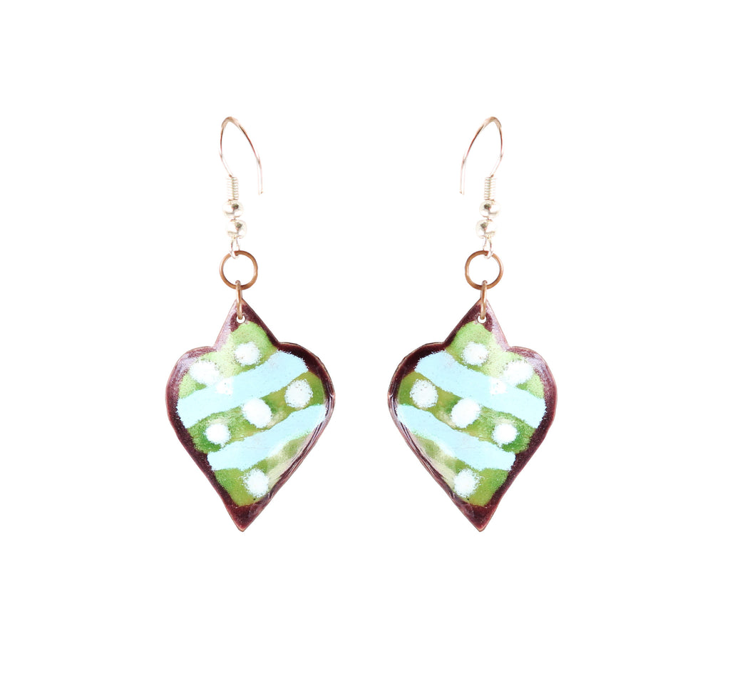 Touchstone Enamelled with multi-coloured earrings which is heart shape design- KRET-F76-01----