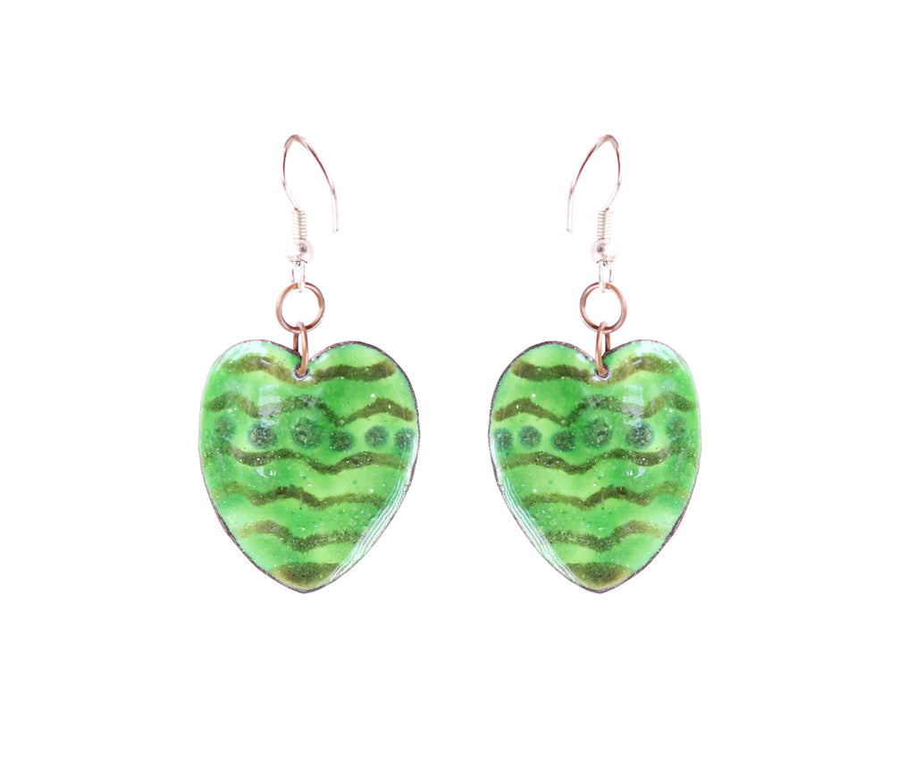 Touchstone Enamelled with light green coloured earrings which is heart shape design- KRET-F77-01----