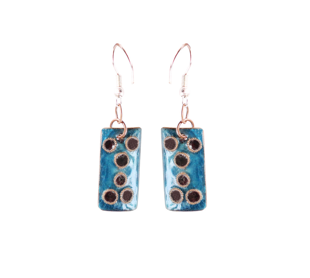 Touchstone Enamelled with blue coloured earrings which is square shape design- KRET-F79-01----