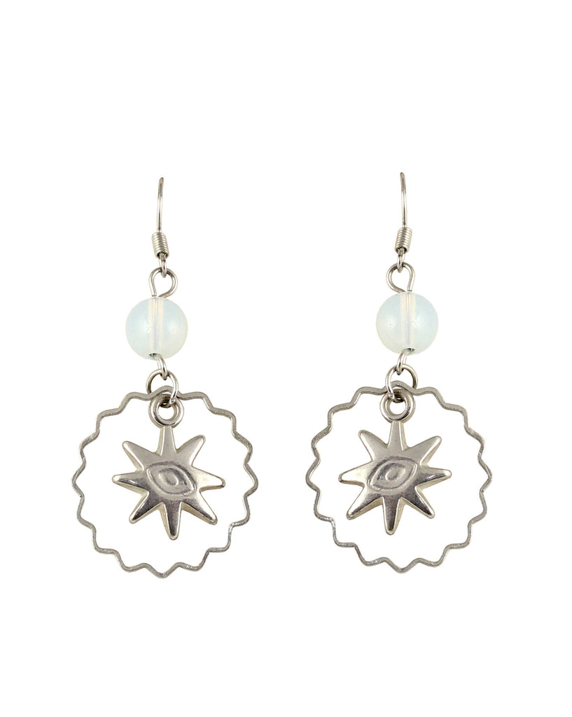 Touchstone Charming and western asterisk style, and glass bead earrings- KRETG998-01---W