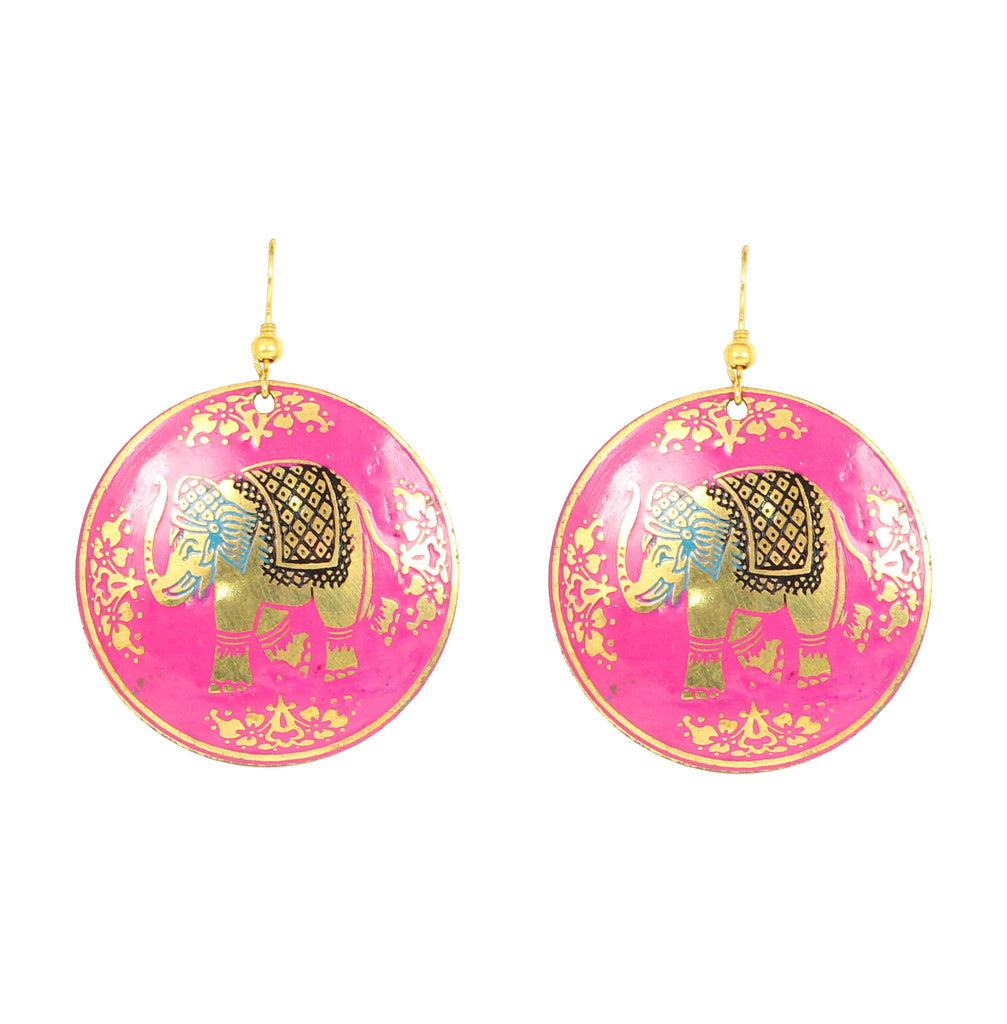 Superly stylized, handcrafted brass base, neat and ethnic style with beautiful enamel touch earrings- KRETGB36-01----