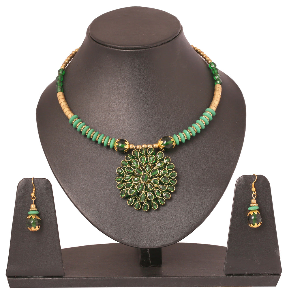Touchstone Very charming peridot colour bead cute necklace- KRNS-200-01----