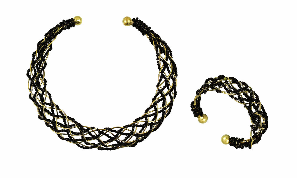 Touchstone Brass base, very illustrious and attractive intertwined wire neck piece- KRNS-203-01----