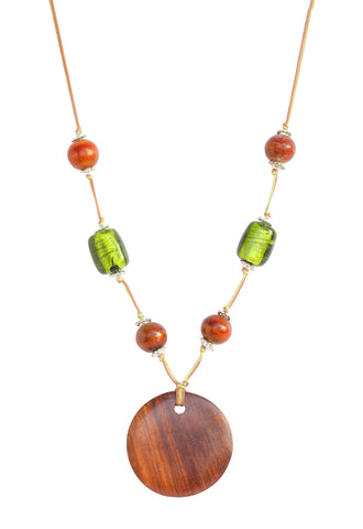 Touchstone Wood & Glass Bead Necklace- KRNS-A10-01----