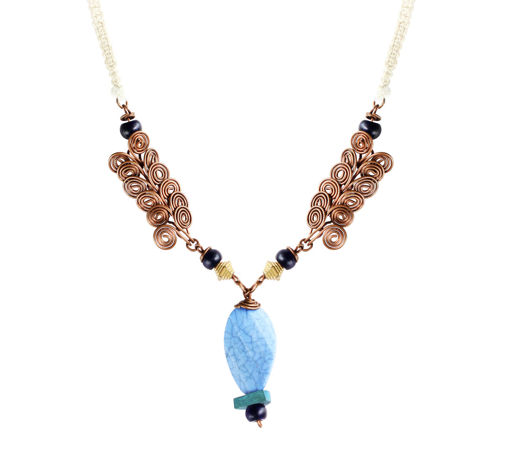 Touchstone Wire & Macrame Jewellery with peacock blue, yellow and & rope style designed Necklace- KRNS-A48-01----