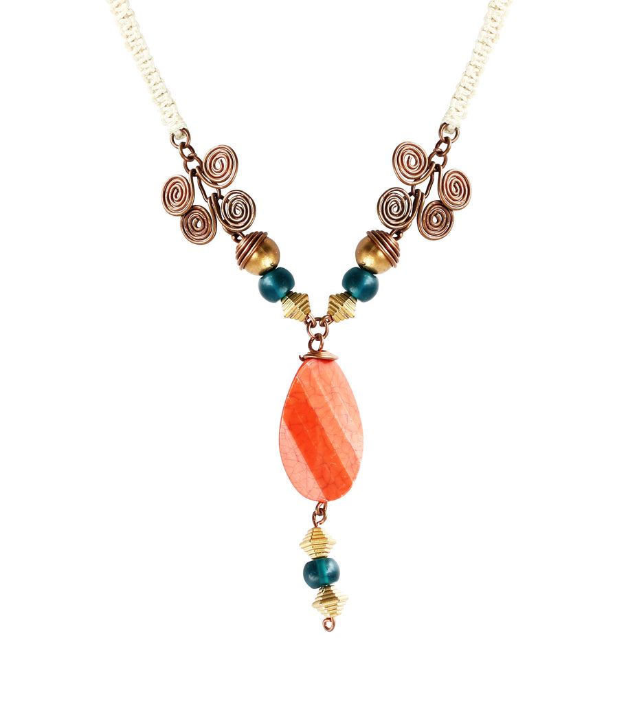 Touchstone Wire & Macrame Jewellery with multi color & rope style designed Necklace- KRNS-A51-01----