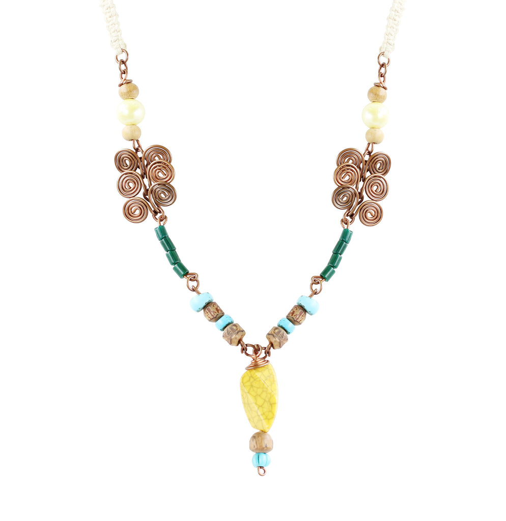 Touchstone Wire & Macrame Jewellery with multi color & rope style designed Necklace- KRNS-A52-01----