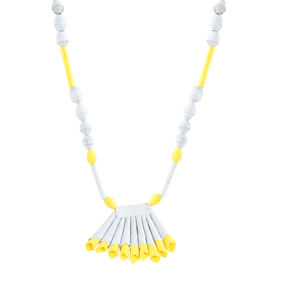 Touchstone Paper Jewellery with gery and yellow color combined Necklace- KRNS-A55-01----