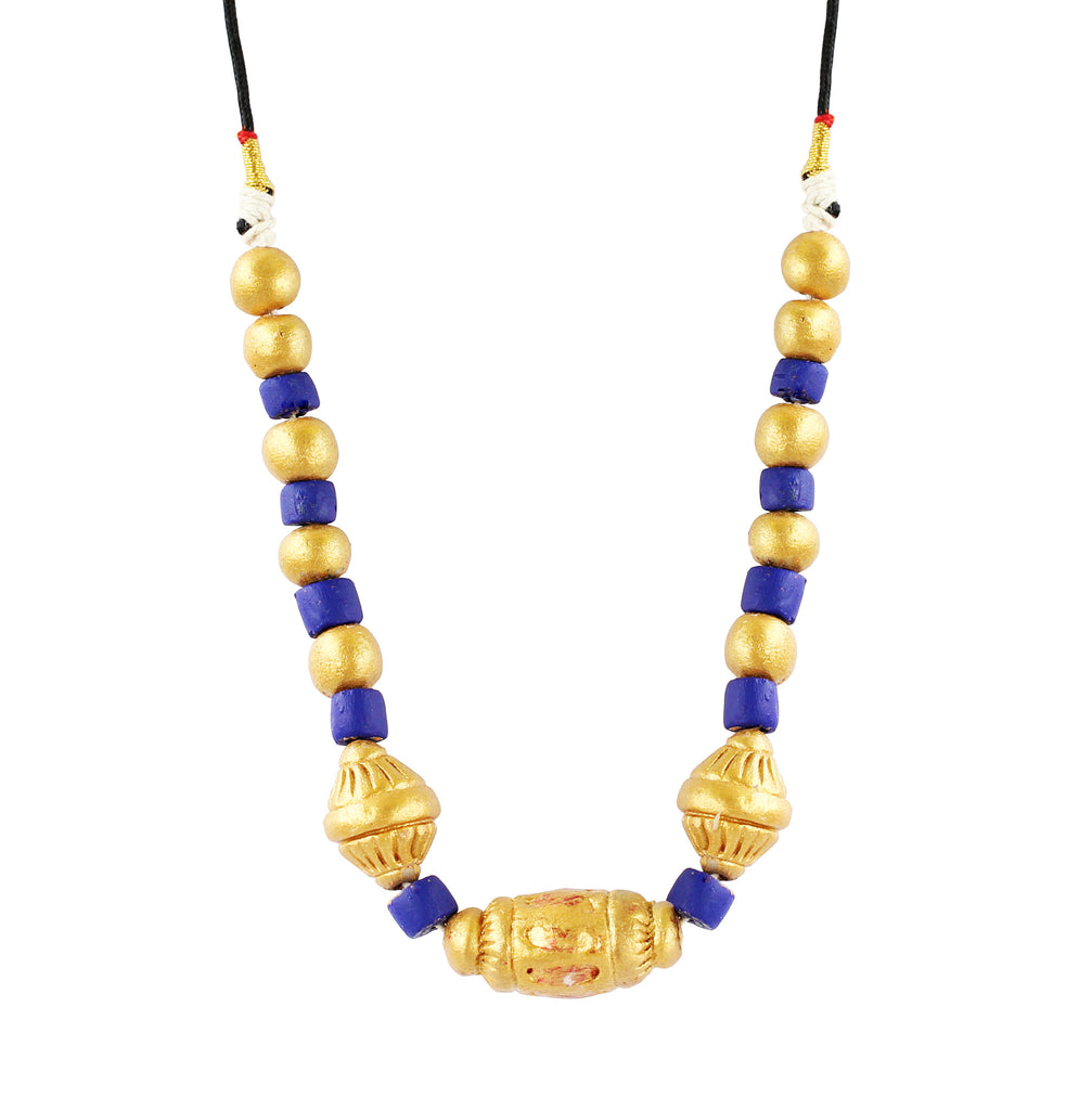 Touchstone Terracotta with purple and combine golden colored designed Necklace- KRNS-A57-01----