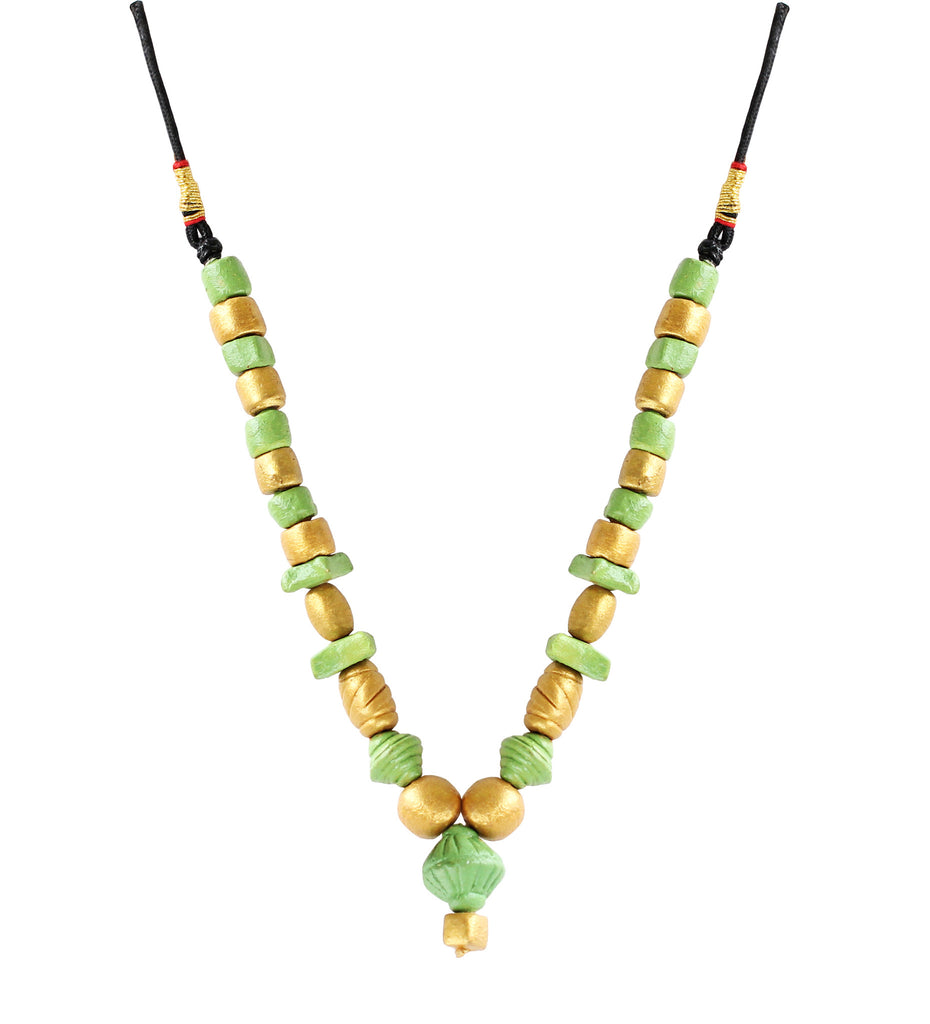Touchstone Terracotta with light green and golden color combined Necklace- KRNS-A59-01----